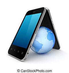 toit, la terre, mobile, sous, fait, phones.
