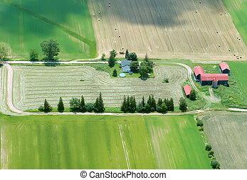 toit, maison, agriculture, vue, aérien, rouges