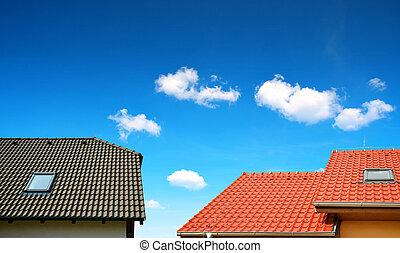 toit, maison, carrelé