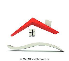 toit, maison, logo, graphique, rouges