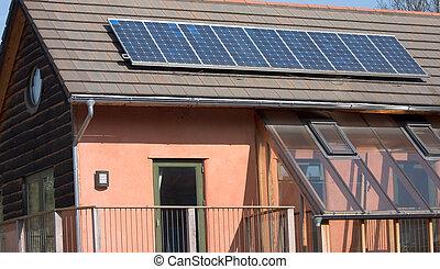toit, panneaux, solaire, photovoltaïque