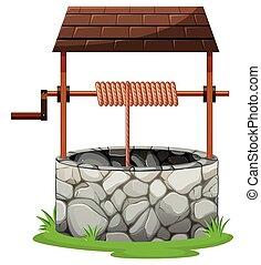 toit, pierre, puits