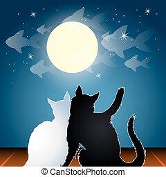 toit, rêver, chats