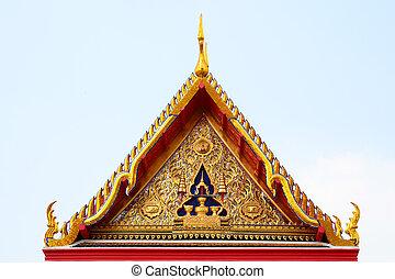 toit, temple, thaï, pignon