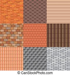 toit, tuiles, vecteur, set., texture