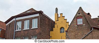 toits, de, résidentiel, maisons