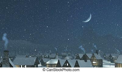 toits, sur, vol nuit, neigeux
