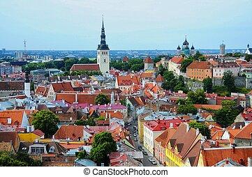 toits, vieux, tallinn, estonie, rouges