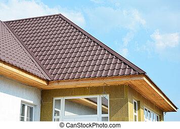 toiture, maison, laine, isolation, mur, détail, rocher