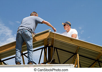 toiture, ouvriers, construction