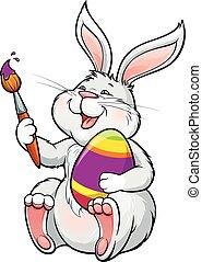 tojás, húsvét, ecset, nyuszi