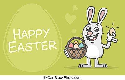 tojás, nyuszi, birtok, kosár, húsvét, zenemű, boldog
