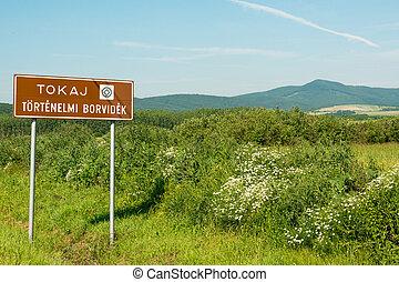 Tokaj region - Touristic sign of famous Tokaj wine region,...