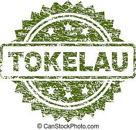 tokelau, 切手, textured, グランジ, シール