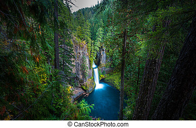 Toketee Falls Douglas County Oregon as seen from the viewing...