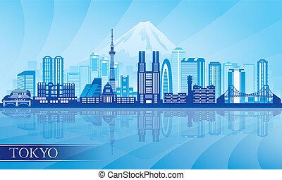 tokio, gedetailleerd, skyline, stad, silhouette