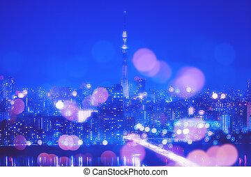 tokio, miasto, noc, tło, z, plama, bokeh, światła