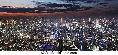 tokio, panorama, nacht, skyline, toren, japan
