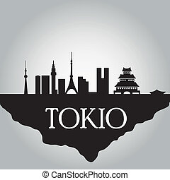 tokio - some black silhouettes of the buildings from tokyo