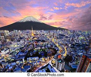Tokyo Tower and Mt. Fuji in Tokyo, Japan.