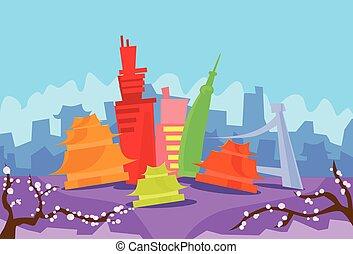 tokyo, astratto, orizzonte, città, grattacielo, silhouette