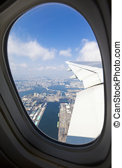 Tokyo Bay Viewed through a Plane Window