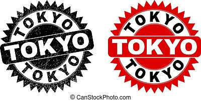 TOKYO Black Rosette Watermark with Corroded Texture