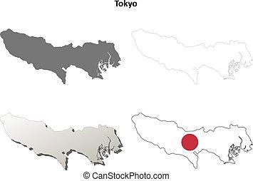 Tokyo blank outline map set - Tokyo prefecture blank...