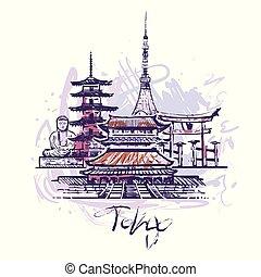 tokyo, couleur, résumé, isolé, illustration, arrière-plan., vecteur, blanc, dessin