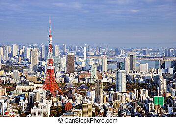 Tokyo Daytime Skyline - Tokyo Tower in Tokyo, Japan.