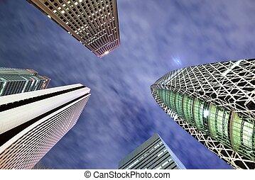 High Rises in Shinjuku Ward, Tokyo, Japan.