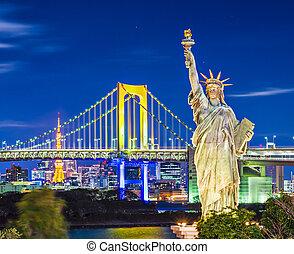 Famou landmarks of Tokyo, Japan.
