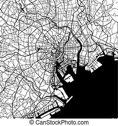 Tokyo, Japan, Monochrome Map Artprint