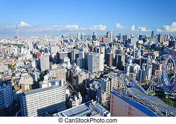 Tokyo, Japan - Tokyo Sky Tree and Down Town. The cityscapes...