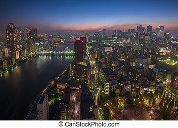 Tokyo night scene, panoramic view