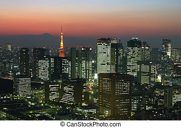 Tokyo night - Tokyo skyline at dusk with mt Fuji showing on ...