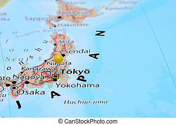 Tokyo pinned on a map of Asia - Photo of pinned Tokyo on a...