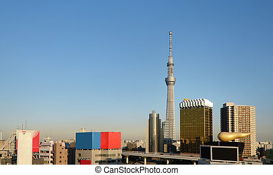 Tokyo Sky tree amd skyscraper in Asakusa district, Tokyo,...