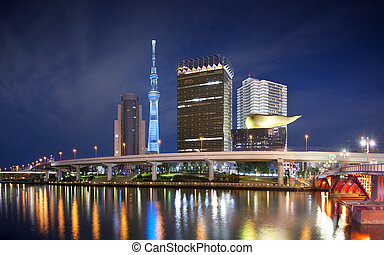 Tokyo, Japan skyline at the Sumida River with the Skytree in the distance.