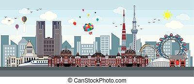 Tokyo skyline, center of Tokyo, Tokyo landmarks. vector illustration