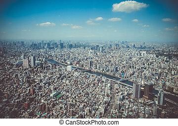 tokyo, skyline city, aerial udsigt, japan