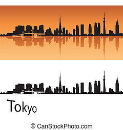 Tokyo skyline in orange background in editable vector file