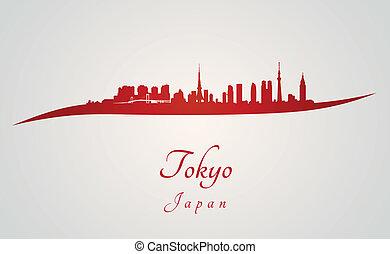 Tokyo skyline in red
