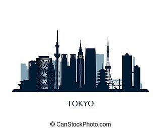 Tokyo skyline, monochrome silhouette.
