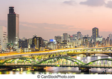 Tokyo skyline - skyline with Highway in Tokyo, Japan at...