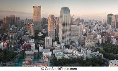 Tokyo skyline timelapse at sunset