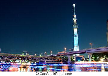 Tokyo skytree blue illumination