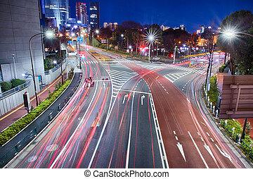 tokyo, stadt, nacht
