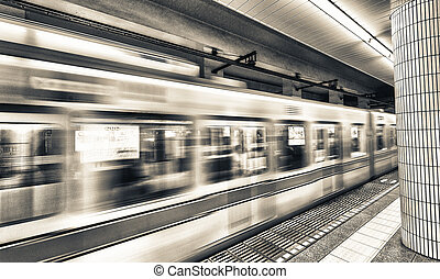 tokyo, subway., jeûne, en mouvement, train
