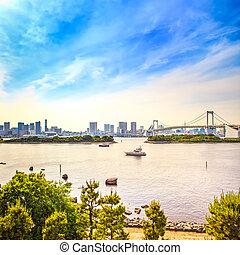 Tokyo sunset Skyline with Rainbow Bridge and bay from Odaiba...